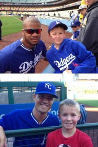 Logan with Kenley Jansen in April and Jeremy Guthrie in October.